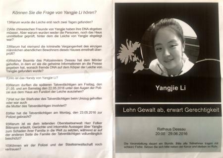 Fragen im Mordfall Yangjie Li